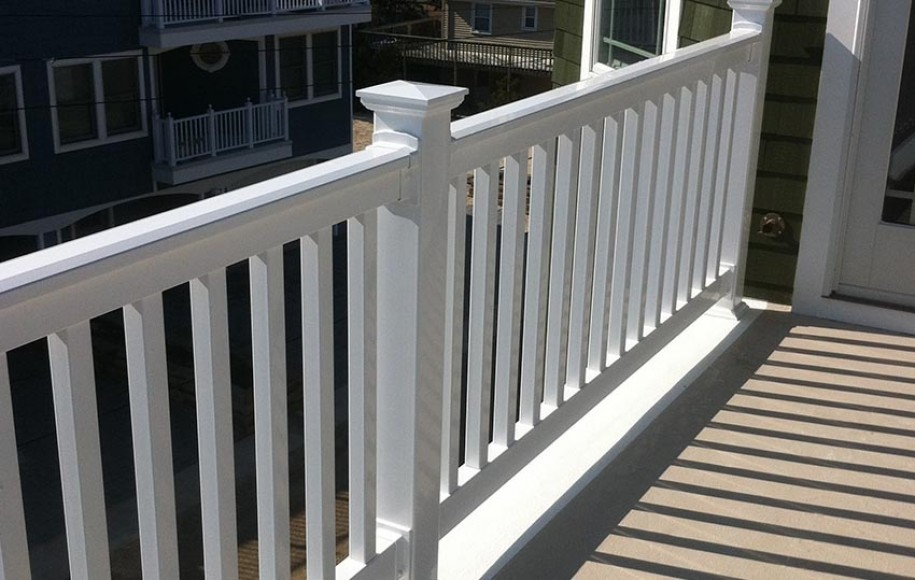 example white deck railing