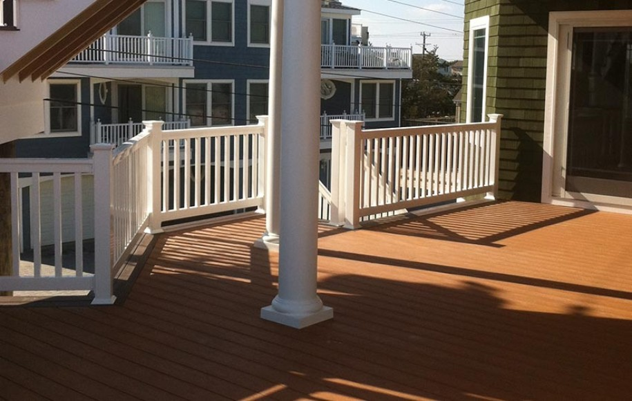 example brown deck white railings