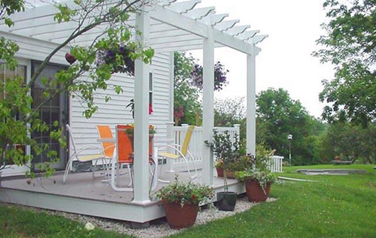 white pergola on back deck